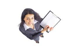 Scrittura della donna di affari Fotografie Stock Libere da Diritti