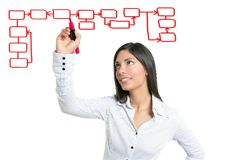 Scrittura della donna di affari del Brunette su un copyspace Fotografia Stock