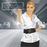 Scrittura della donna di affari di vettore qualcosa Fotografia Stock Libera da Diritti