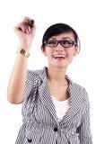 Scrittura della donna di affari sullo spazio della copia Immagini Stock Libere da Diritti