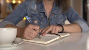 Scrittura della donna in giornale, diario stock footage