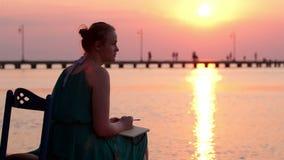Scrittura della giovane donna in suo diario dalla spiaggia stock footage