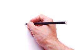 Scrittura della mano con la matita Fotografia Stock