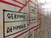 Scrittura della mano, iscrizione del nome di paese con il collegamento della linea rossa per il collegamento con molti paese immagini stock libere da diritti
