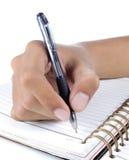 Scrittura della mano sul abook Fotografia Stock