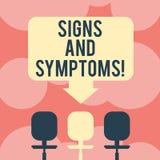 Scrittura della nota che dà segni e sintomi Foto di affari che montra qualsiasi prova soggettiva della malattia che può essere sp illustrazione di stock