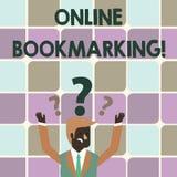 Scrittura della nota che mostra Bookmarking online Montrare della foto di affari usato per conservare un indirizzo URL per riferi immagine stock