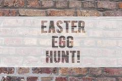 Scrittura della nota che mostra caccia dell'uovo di Pasqua La foto di affari che montra cercando gli ossequi speciali di stagione fotografia stock libera da diritti