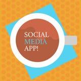 Scrittura della nota che mostra il App sociale di media Foto di affari che montra creazione e che divide gli interessi di carrier illustrazione vettoriale