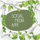 Scrittura della nota che mostra il App sociale di media Foto di affari che montra creazione e che divide gli interessi di carrier illustrazione di stock
