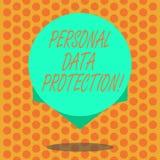 Scrittura della nota che mostra protezione dei dati personale Foto di affari che montra conservazione per assicurare i dati demon illustrazione di stock
