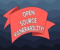 Scrittura della nota che mostra vulnerabilità di Open Source La foto di affari che montra le imprese divulgate è aperta agli uten royalty illustrazione gratis