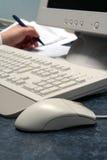 Scrittura della priorità bassa del mouse Fotografia Stock