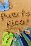 Scrittura della spiaggia del Porto Rico Fotografia Stock