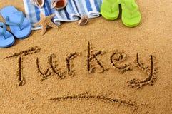 Scrittura della spiaggia della Turchia Fotografia Stock Libera da Diritti