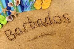 Scrittura della spiaggia delle Barbados Immagini Stock