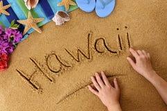 Scrittura della spiaggia delle Hawai Fotografie Stock Libere da Diritti