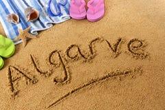Scrittura della spiaggia di Algarve Immagini Stock