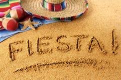 Scrittura della spiaggia di festa fotografia stock libera da diritti