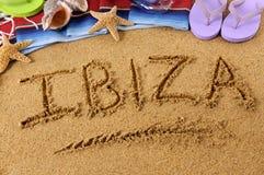 Scrittura della spiaggia di Ibiza Fotografia Stock