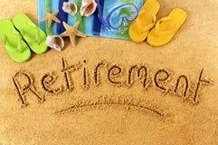 Scrittura della spiaggia di pensionamento Fotografia Stock