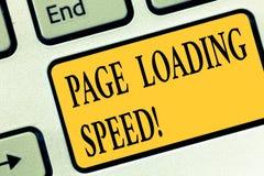Scrittura della velocità di carico della pagina di rappresentazione della nota Foto di affari che montra il tempo prende per scar illustrazione di stock