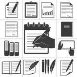 Scrittura delle icone nere Su fondo bianco illustrazione di stock