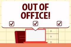 Scrittura dello showingOut della nota dell'ufficio La foto di affari che montra fuori del lavoro nessuno nello svago della rottur royalty illustrazione gratis