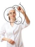 Scrittura di medico qualcosa con l'indicatore su vetro immagini stock libere da diritti