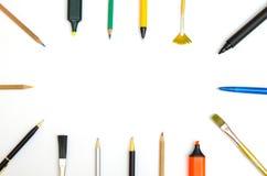 Scrittura ed utensili del disegno immagini stock libere da diritti