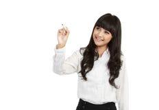 Scrittura felice della donna di affari immagini stock libere da diritti
