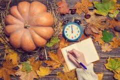 Scrittura femminile della mano qualcosa Fotografia Stock