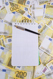 Scrittura-libro per le note sulle banconote Fotografie Stock