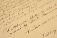 Scrittura a mano dell'annata Immagini Stock Libere da Diritti