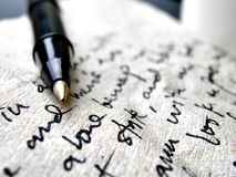 Scrittura a mano sul tovagliolo marrone Immagini Stock Libere da Diritti