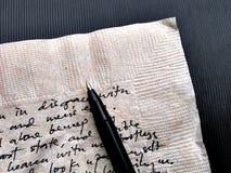 Scrittura a mano sul tovagliolo marrone Fotografia Stock Libera da Diritti