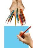 Scrittura o note con la mano Fotografia Stock