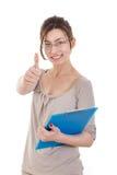 Scrittura sicura amichevole della donna di affari con il suo organizzatore o n Fotografia Stock Libera da Diritti