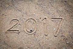 scrittura 2017 sulla sabbia Fotografia Stock Libera da Diritti