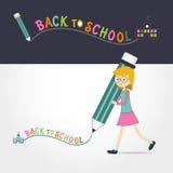 Scrittura sveglia della matita della tenuta della bambina di nuovo alla scuola royalty illustrazione gratis