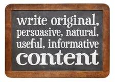 Scriva conctent originale, utile, informativo Immagini Stock Libere da Diritti