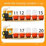 Scriva i numeri mancante undici - venti sul treno royalty illustrazione gratis