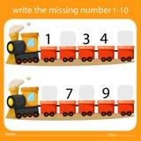 Scriva i numeri mancante uno - dieci sul treno illustrazione di stock