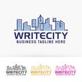 Scriva il modello di logo di vettore della città Fotografie Stock Libere da Diritti