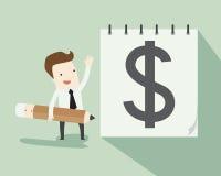 Scriva per ottenere i soldi Fotografia Stock