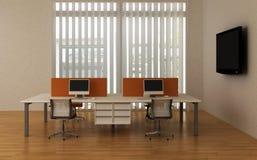 Scrivanie del sistema all'interno dell'ufficio Immagine Stock