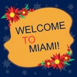 Scrivendo benvenuto di rappresentazione della nota a Miami Foto di affari che montra arrivare alla vacanza soleggiata della spiag illustrazione vettoriale