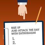 Scrivendo la rappresentazione della nota aumenti su ed attacchi il giorno con entusiasmo Montrare della foto di affari è entusias illustrazione di stock