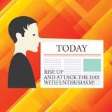 Scrivendo la rappresentazione della nota aumenti su ed attacchi il giorno con entusiasmo Montrare della foto di affari è uomo mot illustrazione di stock
