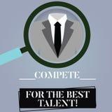 Scrivendo la rappresentazione della nota competi per il migliore talento Foto di affari che montra concorrenza determinare chi è  royalty illustrazione gratis